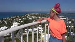 Girl on the observation deck of the Gibbs Hill lighthouse. Bermuda. Stock Footage