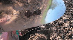 Detail View of Plow Turning Soil Stock Footage