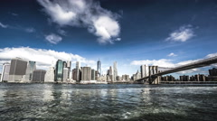The One World Trade Center and the Brooklyn Bridge, New York City, NY Stock Footage