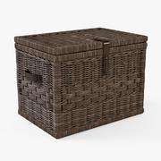 Wicker Storage Trunk 05 Walnut Brown Color - 3D model