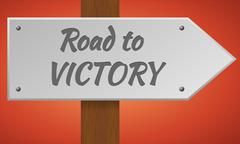 Road to victory sign. - stock illustration