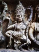 Dancing Apsara Bas Relief Carving at Angkor, Siem Reap, Cambodia Stock Photos