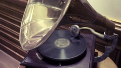 Old retro gramophone turning, side view Stock Footage