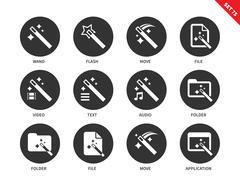 Magic icons on white background - stock illustration