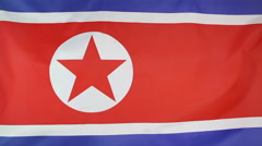 Textile flag of North Korea - stock footage