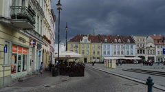 Old Town Market Square in Bydgoszcz, Poland Stock Footage