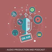 Audio production and podcast vector illustration. Editable flat design concep Piirros