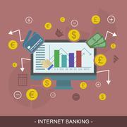 Internet banking editable vector illustration concept. - stock illustration
