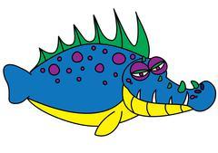 Ugly fish monster Stock Illustration