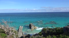 Scenic  Bermuda coastline with sea skyline at South Shore National Park. Arkistovideo