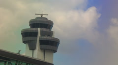 Control Tower Radar by Airport Terminal Building against Sky Arkistovideo