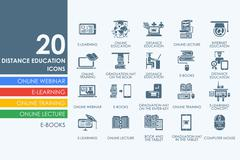Set of distance learning icons - stock illustration