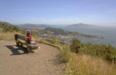 Overlooking the Pacific ocean and the surrounding area. - stock photo