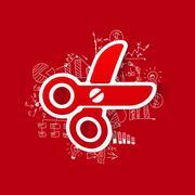 Drawing business formulas: scissors - stock illustration