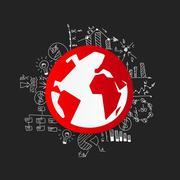 Drawing business formulas: globe - stock illustration