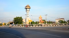 Motion at Traffic road with ancient clock tower roundabout Stock Footage