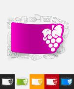 grapes paper sticker with hand drawn elements - stock illustration
