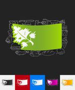 Parsley, dill paper sticker with hand drawn elements Stock Illustration