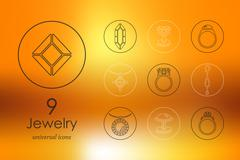 Set of jewelry icons - stock illustration
