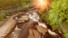 Sunrise Over Waterfalls In North Carolina Forest - stock footage