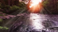 Sunrise Over Waterfalls In North Carolina Forest Stock Footage