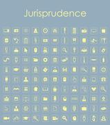 Set of jurisprudence simple icons - stock illustration