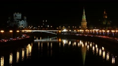 Moscow Kremlin on of Moskva-river at night Stock Footage