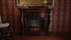 Wooden Fireplace in Conservative Interior - stock footage