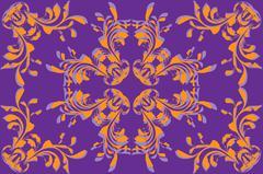 Yellow flower pattern on violet background - stock illustration