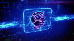 Human brain icon on abstract blue background Stock Footage