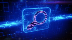 Search icon on abstract blue background - stock footage