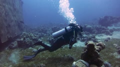 Woman scuba diving under water - stock footage