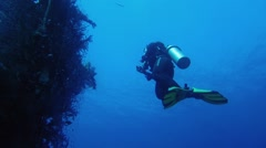 Diver photographing of shipwreck Stock Footage