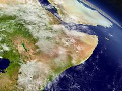 Somalia and Ethiopia from space - stock illustration