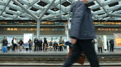 Time Lapse of busy Central Train Station Platform - The Hague Netherlands Stock Footage