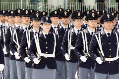 Rome, Italy - May 25, 2016: Men of traffic police deployed during the celebratio - stock photo