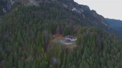 Aerial of villa in forest - stock footage