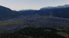 Aerial of beautiful mountain and town - stock footage