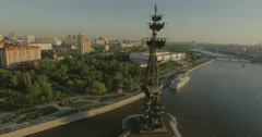 Aerial view of Peter the Great Statue Stock Footage