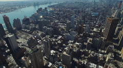 Aerial of beautiful Manhattan Skyline in New York City - stock footage