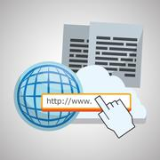 Internet design. Online icon. Colorful illustration - stock illustration