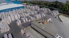 Modern ceramics plant, with air, building exterior - stock footage