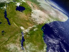 Tanzania from space - stock illustration