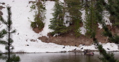 Wide shot of snowy hillside with eagles and ravens eating bison in river Stock Footage