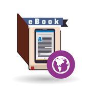 eBook  design. reading icon. White background , vector illustration - stock illustration