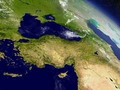 Turkey from space - stock illustration