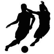 Soccer players fighting for the ball in a football match - stock illustration