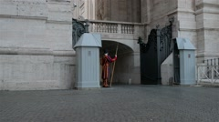 Swiss Guard at St. Peters Basilica, Vatican Stock Footage