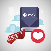EBook  design. reading icon. White background Stock Illustration
