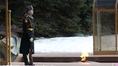 Eternal flame at Tomb of Unknown Soldier, Moscow Stock Footage